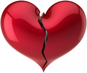 Heart shape broken with crack colored red. Love divorce